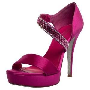 Loriblu Fuchsia Satin Crystal Embellished Open Toe Platform Sandals Size 38.5