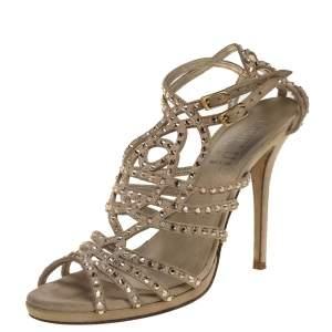 Loriblu Beige Suede Crystal Embellished Strappy Sandals Size 41