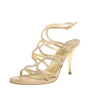 Loriblu Gold Suede Crystal Embellished Strappy Sandals Size 39