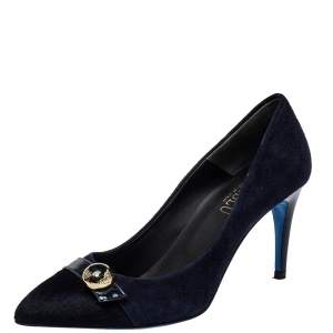 Loriblu Navy Blue Suede And Calf Hair Pumps Size 39