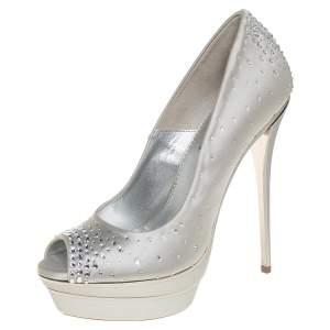 Loriblu Silver Satin Crystal Embellished Peep Toe Platform Pumps Size 38