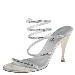 Loriblu Silver Leather Crystal Embellished Slingback Sandals Size 38