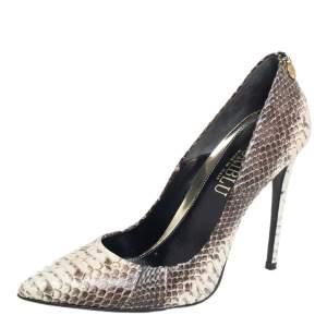 Loriblu Brown /White Python Leather Slip On Pumps Size 39