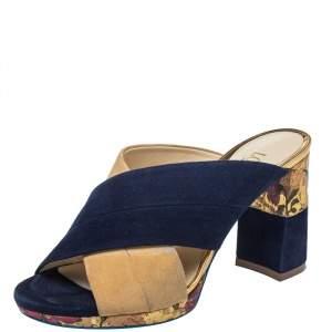 Loriblu Blue/Beige Suede Brocade Mule Sandals Size 38