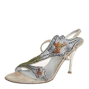 Loriblu Silver Fabric Crystal Embellished Sandals Size 36
