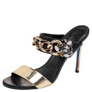 Loriblu Black/Gold Leather Embellished Chain Detail Slide Sandals Size 37.5