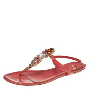 Loriblu Orange Patent Leather Crystal Embellished Ankle Strap Flat Sandals Size 40