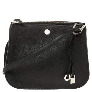 Loro Piana Black Leather Milky Way Odessa Crossbody Bag