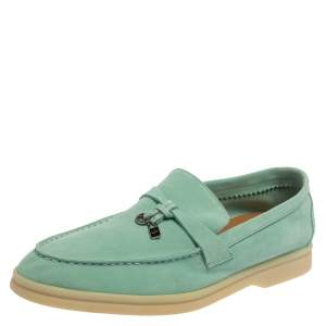 Loro Piana Turquoise Blue Suede Summer Charms Walk Moccasin Size 38.5