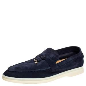 Loro Piana Navy Blue Suede Slip On Loafers Size 37.5