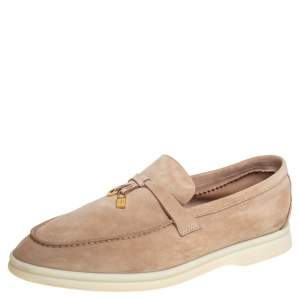 Loro Piana Beige Suede Summer Charms Walk Loafers Size 36.5