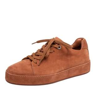 Loro Piana Tan Suede Low Top Nuages Sneakers Size 38.5