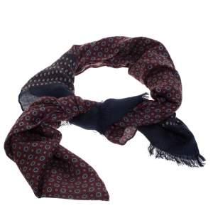 Loro Piana Blue & Red Circle Print Cashmere Silk Scarf