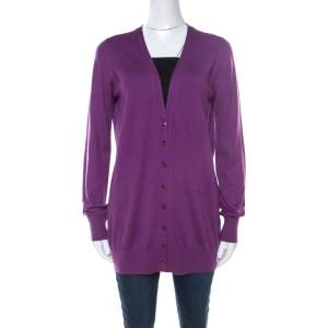 Loro Piana Purple Cashmere Long Cardigan L