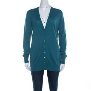 Loro Piana Jade Green Cashmere Button Front Cardigan L