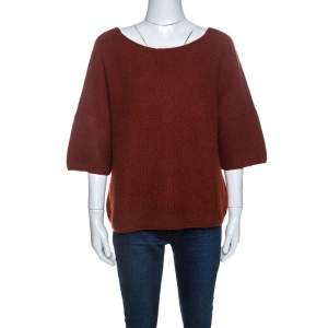 Loro Piana Cinnamon Brown Cashmere Knit Sweater S