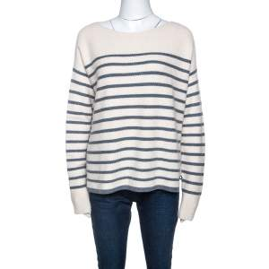 Loro Piana Off White Striped Baby Cashmere Waffle Knit Sweater M