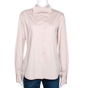 Loro Piana Beige Stretch Cotton Bow Detail Shirt L