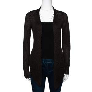Loro Piana Brown Linen & Silk Knit Open Front Cardigan S