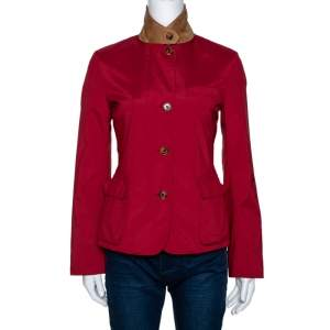 Loro Piana Red Nylon Button Front Jacket S