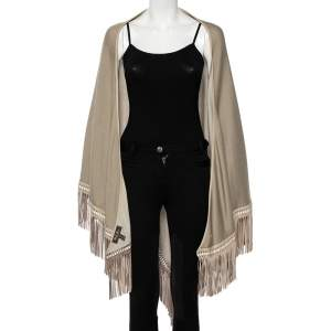 Loro Piana Beige Cashmere Leather Fringe Detail Flamenco Poncho (One Size)
