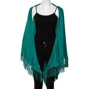 Loro Piana Green Cashmere Leather Fringe Detail Flamenco Poncho (One Size)