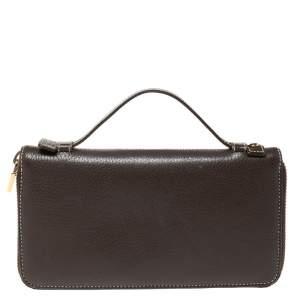 Loro Piana Dark Grey Leather Zip Around Pouch