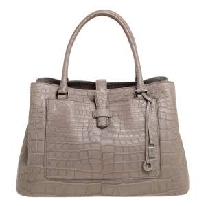 Loro Piana Grey Crocodile Bellevue Tote