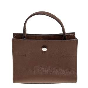 Loro Piana Brown Leather and Suede Petite Odessa Top Handle Bag