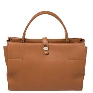 Loro Piana Brown Leather Petite Odessa Top Handle Bag
