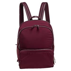 Loro Piana Burgundy Fabric and Leather Voyager City Backpack