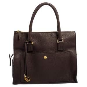 Loro Piana Brown Pebbled Leather Tote
