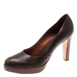 Loro Piana Brown Brogue Leather Platform Pumps Size 38.5