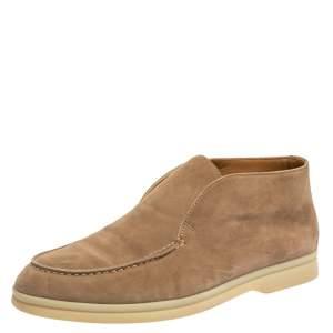 Loro Piana Beige Suede Open Walk Ankle Boots Size 35.5