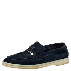 Loro Piana Blue Suede Summer Charms Walk Slip On Loafers Size 37.5