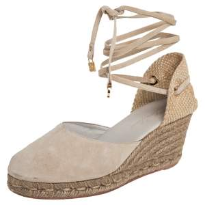 Loro Piana Beige Suede And Jute Wedge Ankle Wrap Espadrilles Size 36