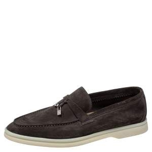 Loro Piana Brown Suede Summer Charms Walk Slip on Loafers Size 39