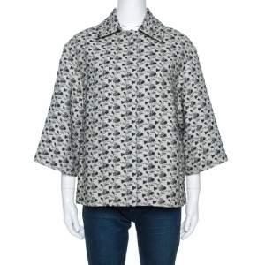 Louis Vuitton Monochrome Floral Jacquard A Line Jacket S