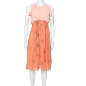 Louis Vuitton Peach Printed Silk Crepe Ruffled Day Dress S