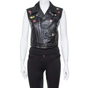 Louis Vuitton Black Leather Badge Embellished Sleeveless Biker Jacket S