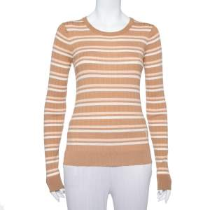 Louis Vuitton Beige and White Striped Wool Long Sleeve Pullover M