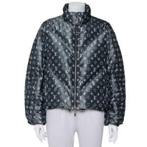 Louis Vuitton Grey Synthetic & Silk Blurry Monogram Printed Down Jacket M