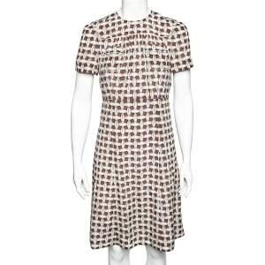 Louis Vuitton Brown & Beige Printed Silk Pocket Detail Midi Dress M