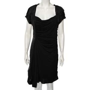 Louis Vuitton Black Jersey Ruffle Trim Ruched Dress L