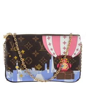 Louis Vuitton Brown Monogram Christmas Edition Double Zip Pochette