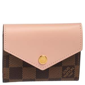 Louis Vuitton Rose Ballerine Leather and Damier Ebene Canvas Zoe Wallet