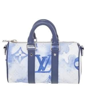 حقيبة لوي فيتون كيبال كانفاس مونوغرامي أزرق/أبيض لون مائي XS