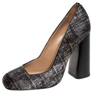 DSquared2 Black/White Pony Hair Block Heel Pumps Size 38
