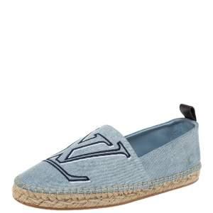 Louis Vuitton Blue Denim Seashore Espadrille Flats Size 37