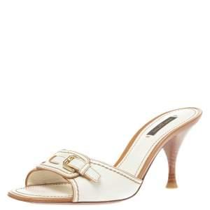 Louis Vuitton Vintage White Leather Buckle Detail Open Toe Sandals Size 38.5
